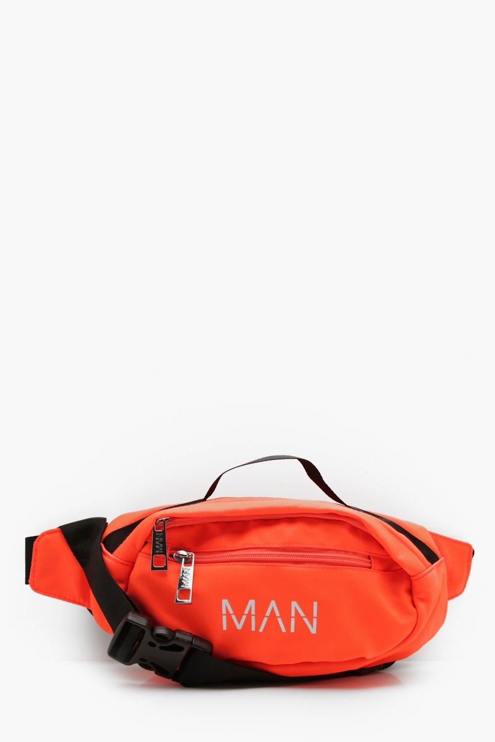 931177f42d Boohoo Neon Man Branded Bumbag in Orange for Men - Lyst