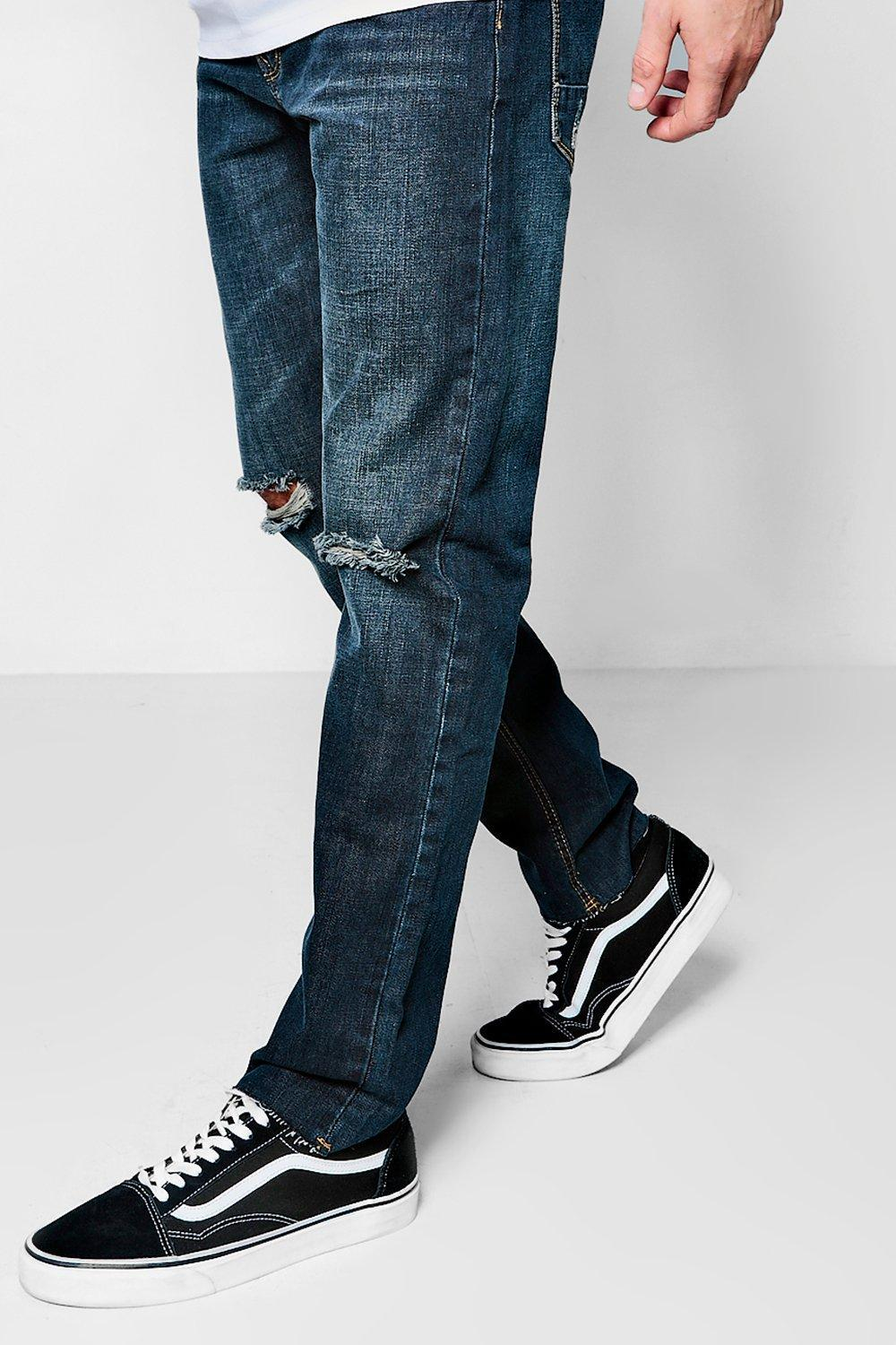 4b650937c3a04 Boohoo Slim Fit Jeans With Ripped Knee And Raw Hem in Blue for Men ...