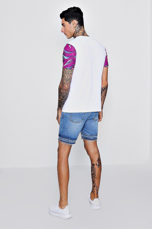 76f0609f013 Boohoo - White Leaf Sleeve Print Man Logo T-shirt for Men - Lyst. View  fullscreen