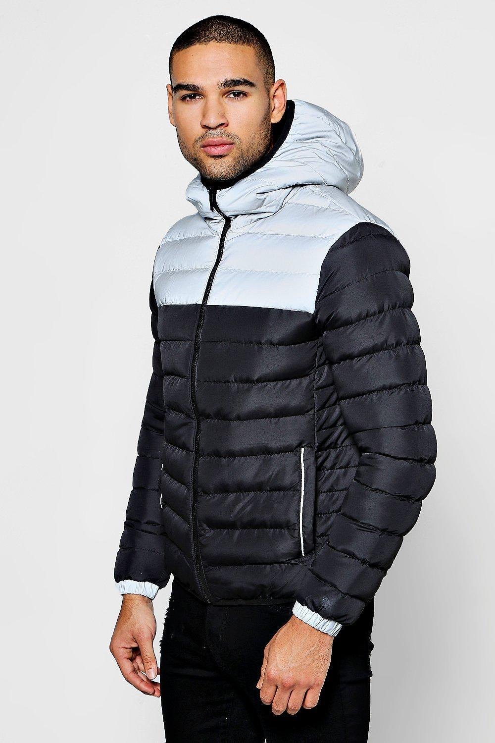 6726a45538a Lyst - Boohoo Reflective Panel Puffer Jacket in Black for Men