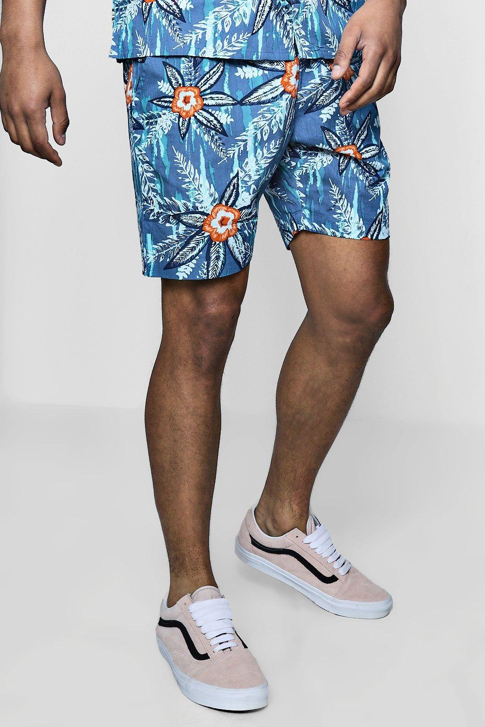 a21767757ba12 Lyst - Boohoo Floral Print Drawstring Short in Blue for Men
