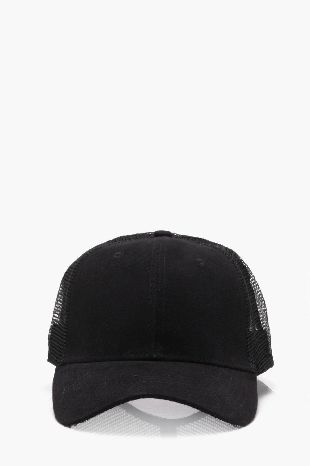 Lyst - BoohooMAN 6 Panel Cotton Front Trucker Cap in Black for Men ... ae96dc30802d