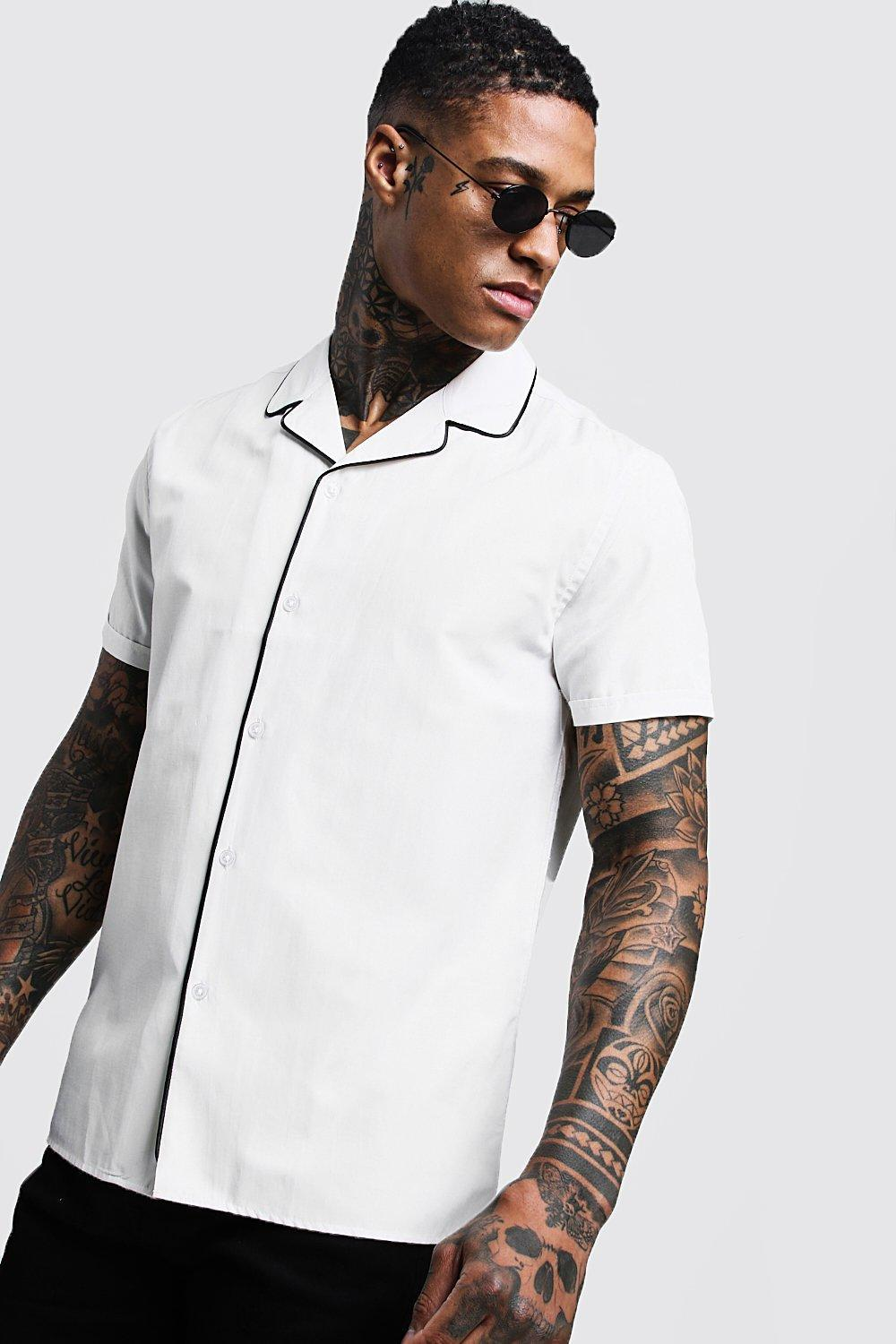 f53db838 Lyst - BoohooMAN Revere Short Sleeve Shirt With Piping in White for Men