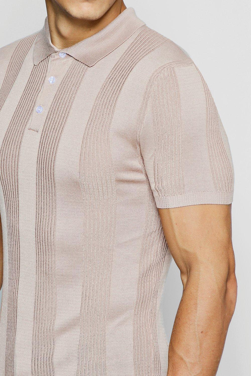 c3d76e7083c3 Lyst - BoohooMAN Rib Stripe Knitted Muscle Fit Polo for Men