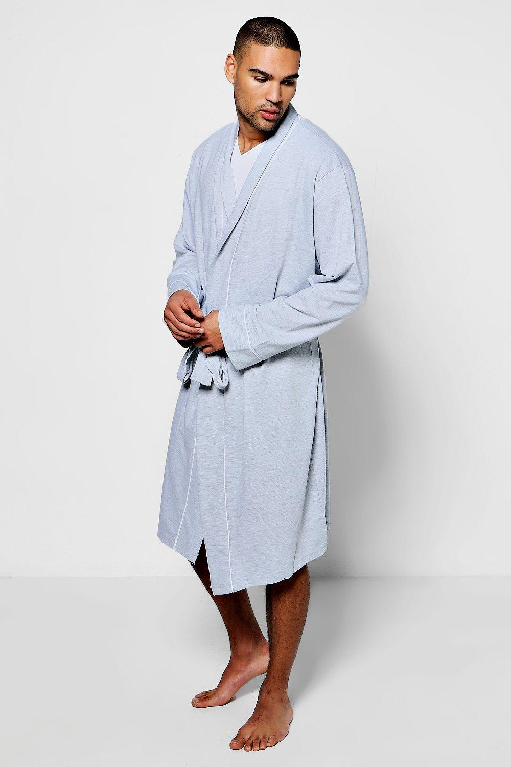 1ba850aa6e58 Lyst - Boohoo Jersey Robe With Piping Detail in Gray for Men