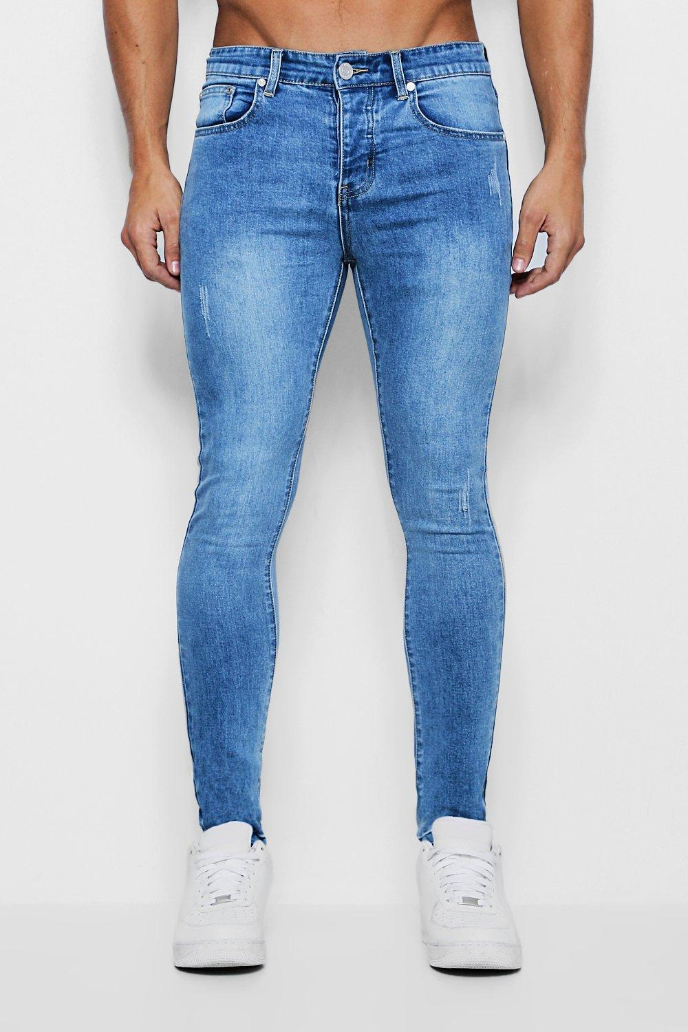 4a71482d35d2e BoohooMAN Super Skinny Jeans With Let Down Hem in Blue for Men - Lyst
