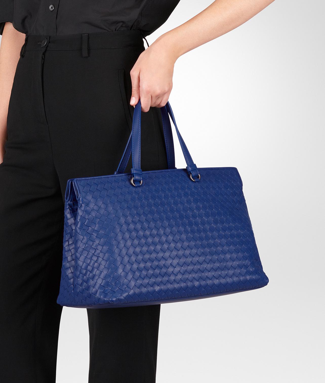 b05fcf0e7c6 Lyst - Bottega Veneta Cobalt Intrecciato Nappa Large Top Handle Bag ...