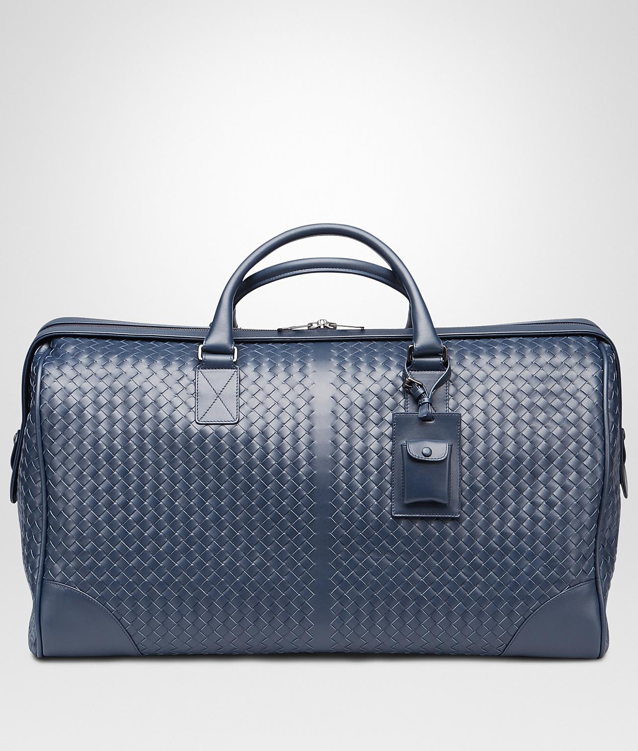 Bottega Veneta. Men s Blue Large Duffel Bag In Light Tourmaline Intrecciato  Vn 5584529c426f7