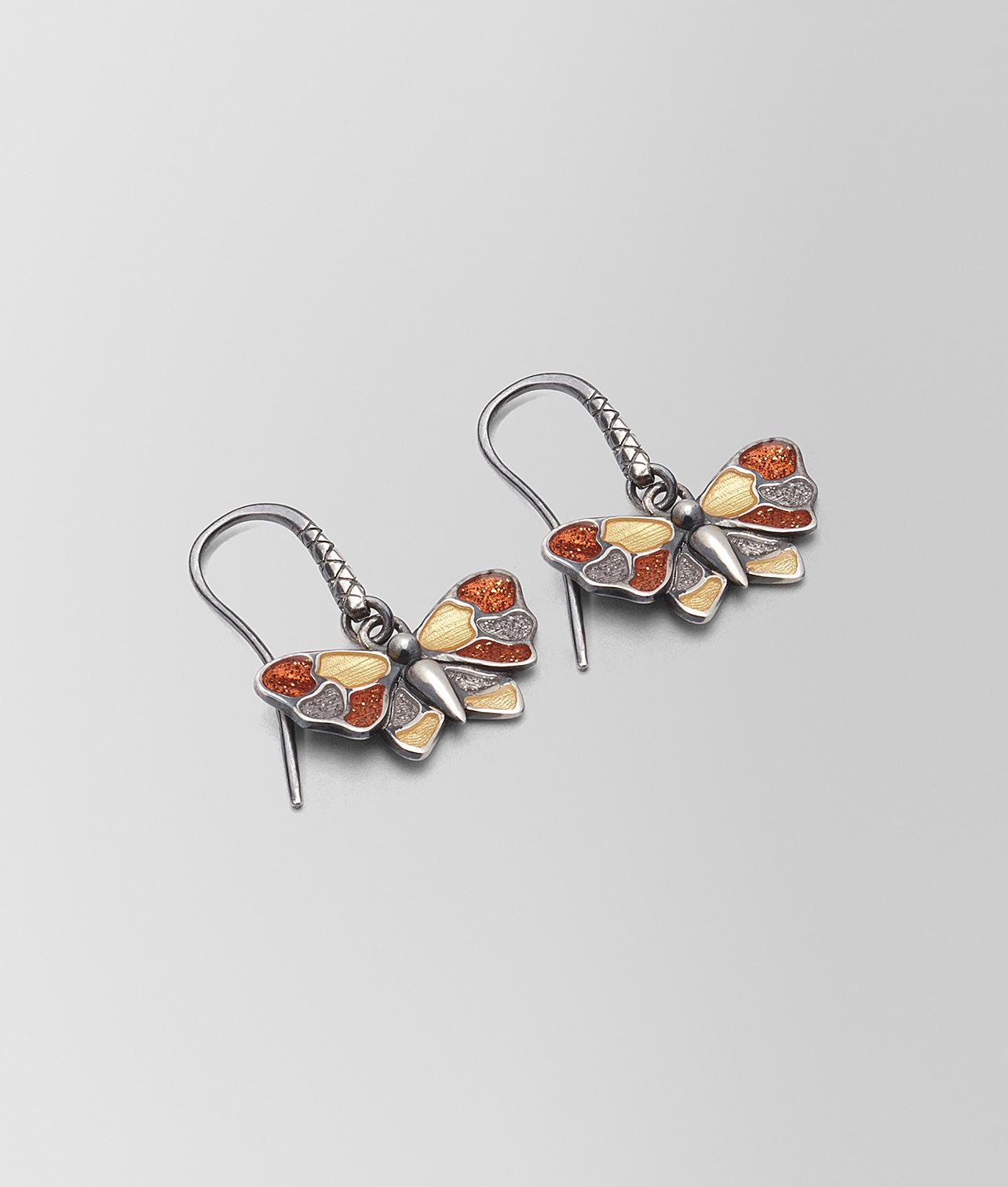 Bottega Veneta Multicolor Antique Silver Butterfly Earrings Brown gold
