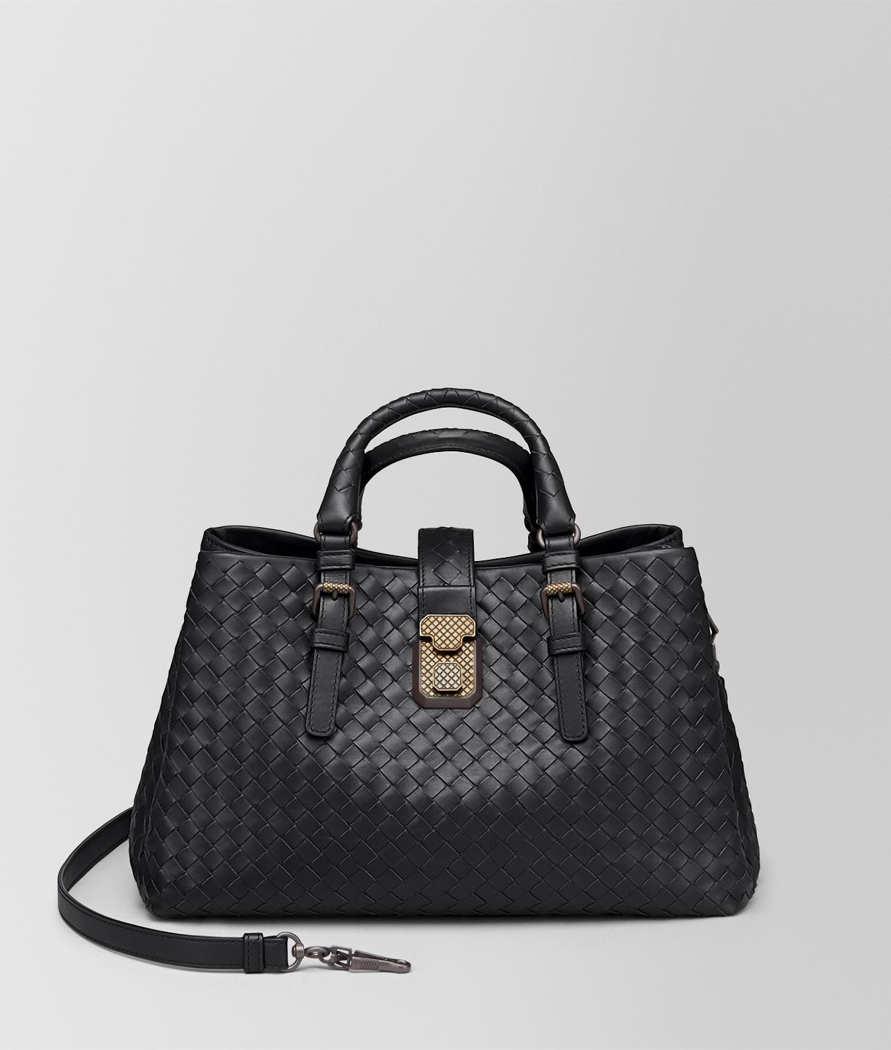 f391142850c9 Bottega Veneta Nero Intrecciato Calf Small Roma Bag in Black - Lyst