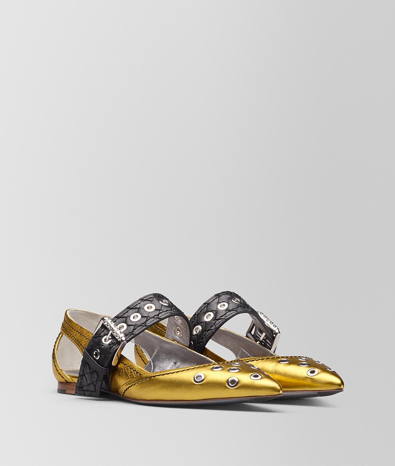 antique gold calf Mary Jane ballerina - Metallic Bottega Veneta LnSMe5yTYA