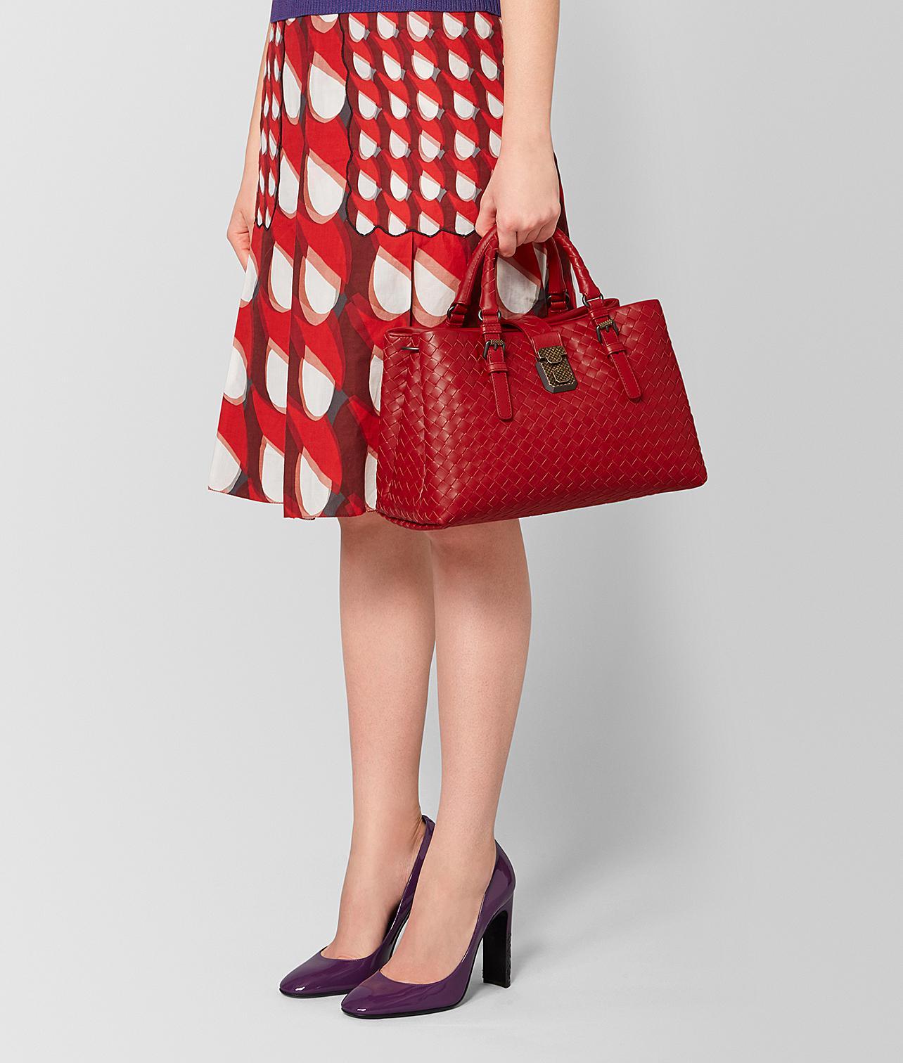 a9f73004829c Bottega Veneta - Red Nero Intrecciato Calf Small Roma Bag - Lyst. View  fullscreen