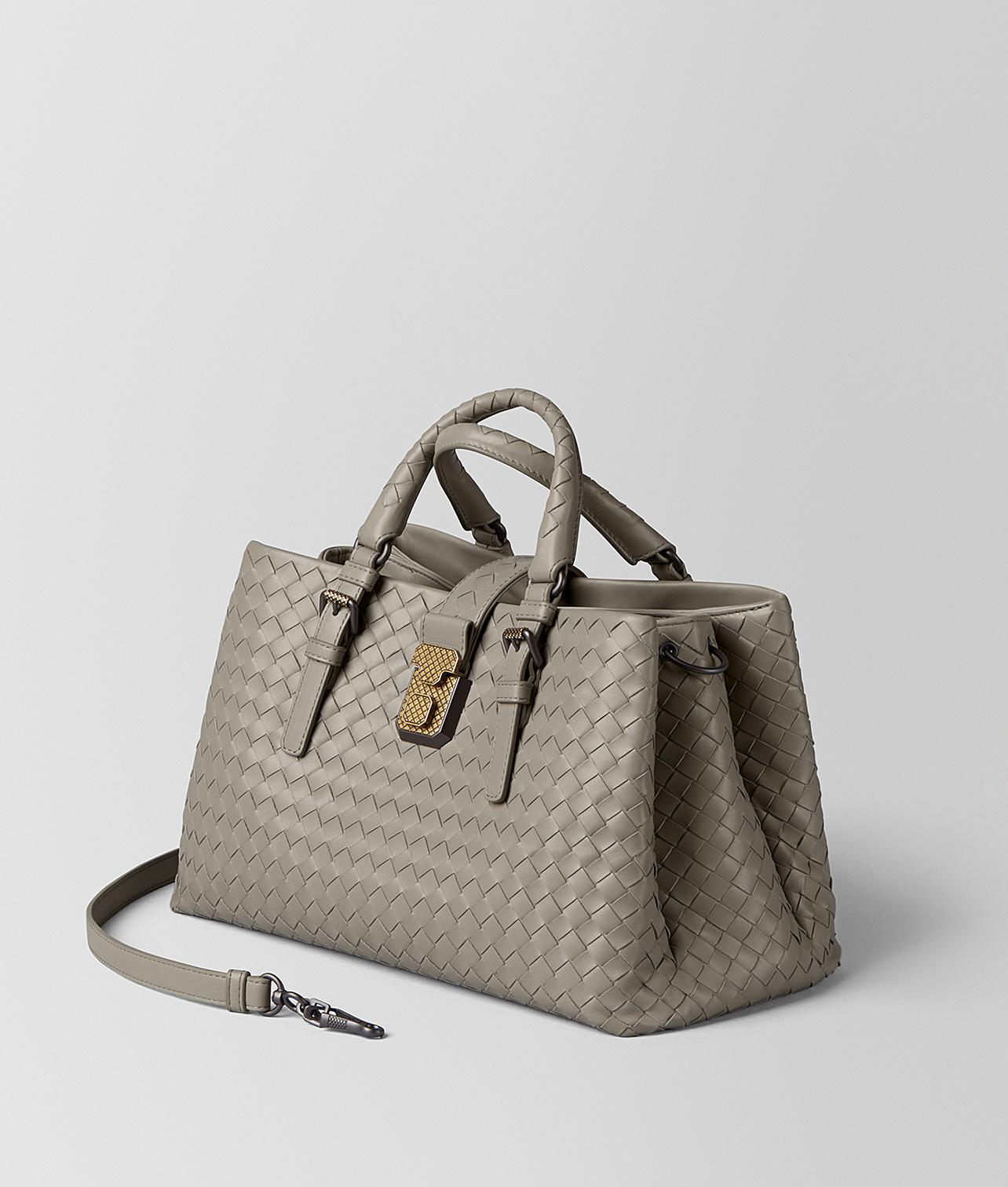 Lyst - Bottega Veneta Dark Cement Intrecciato Calf Roma Bag f9cb76f7f6ea9