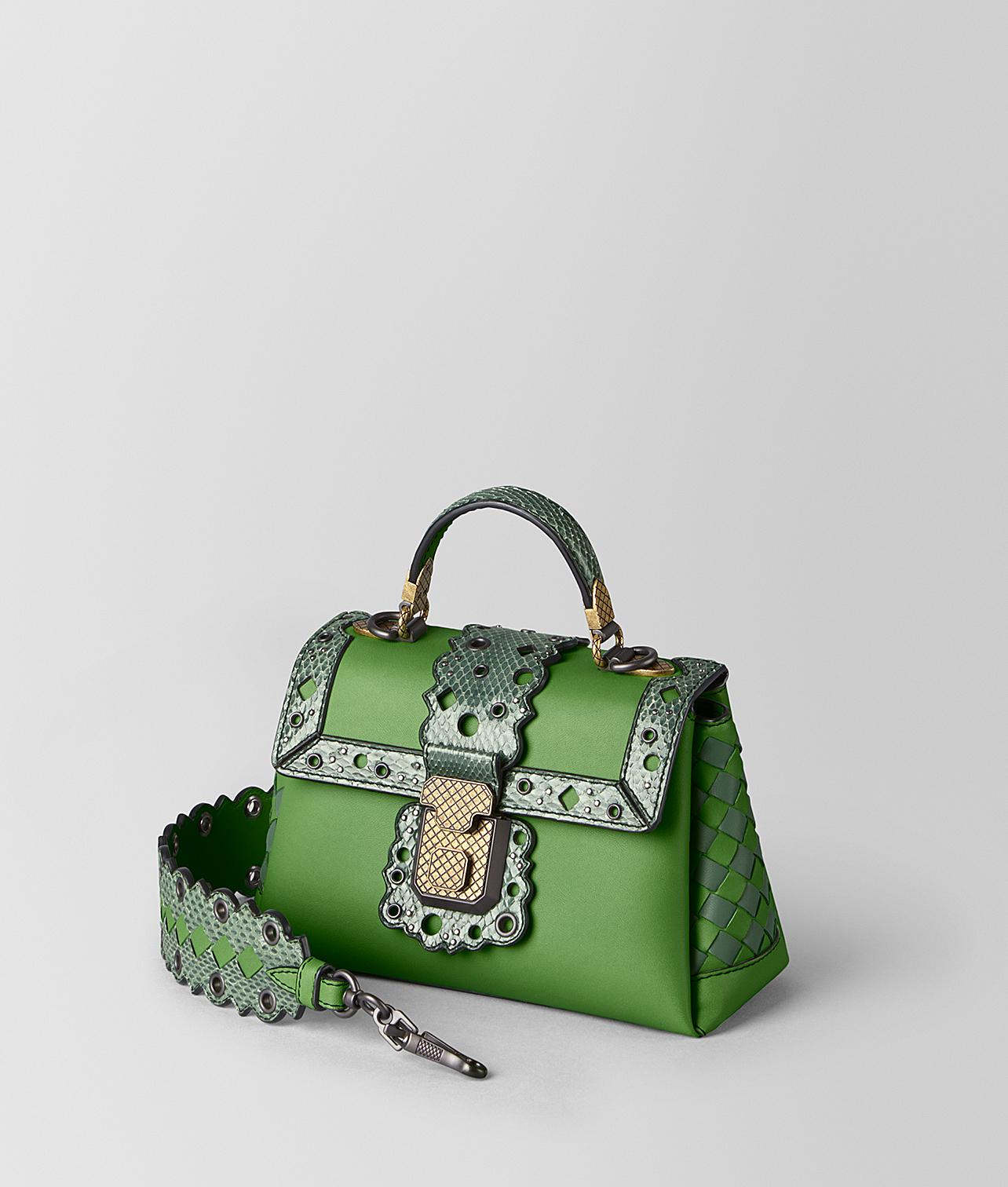 35fe94ff06 Bottega Veneta Mini Piazza Bag In Chequer Lacy in Green - Lyst