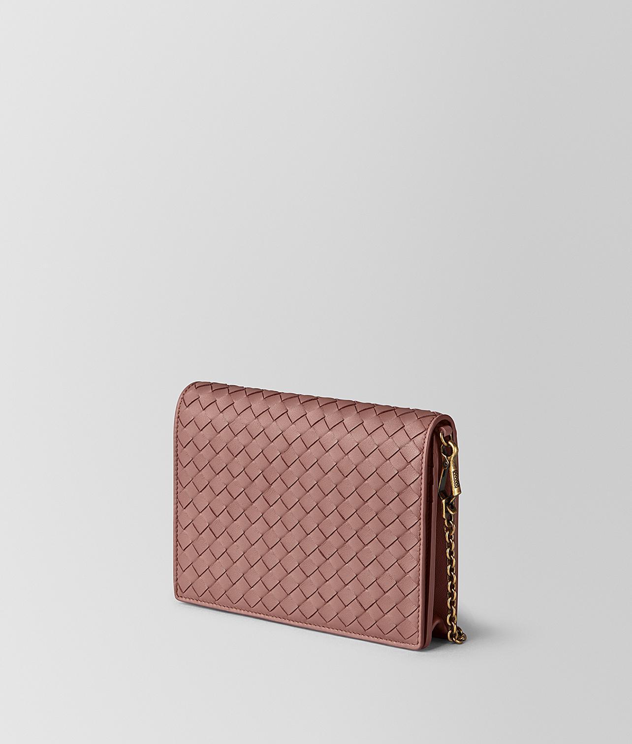 0d200411d854 Bottega Veneta Dark Barolo Intrecciato Nappa Chain Wallet in Pink - Lyst