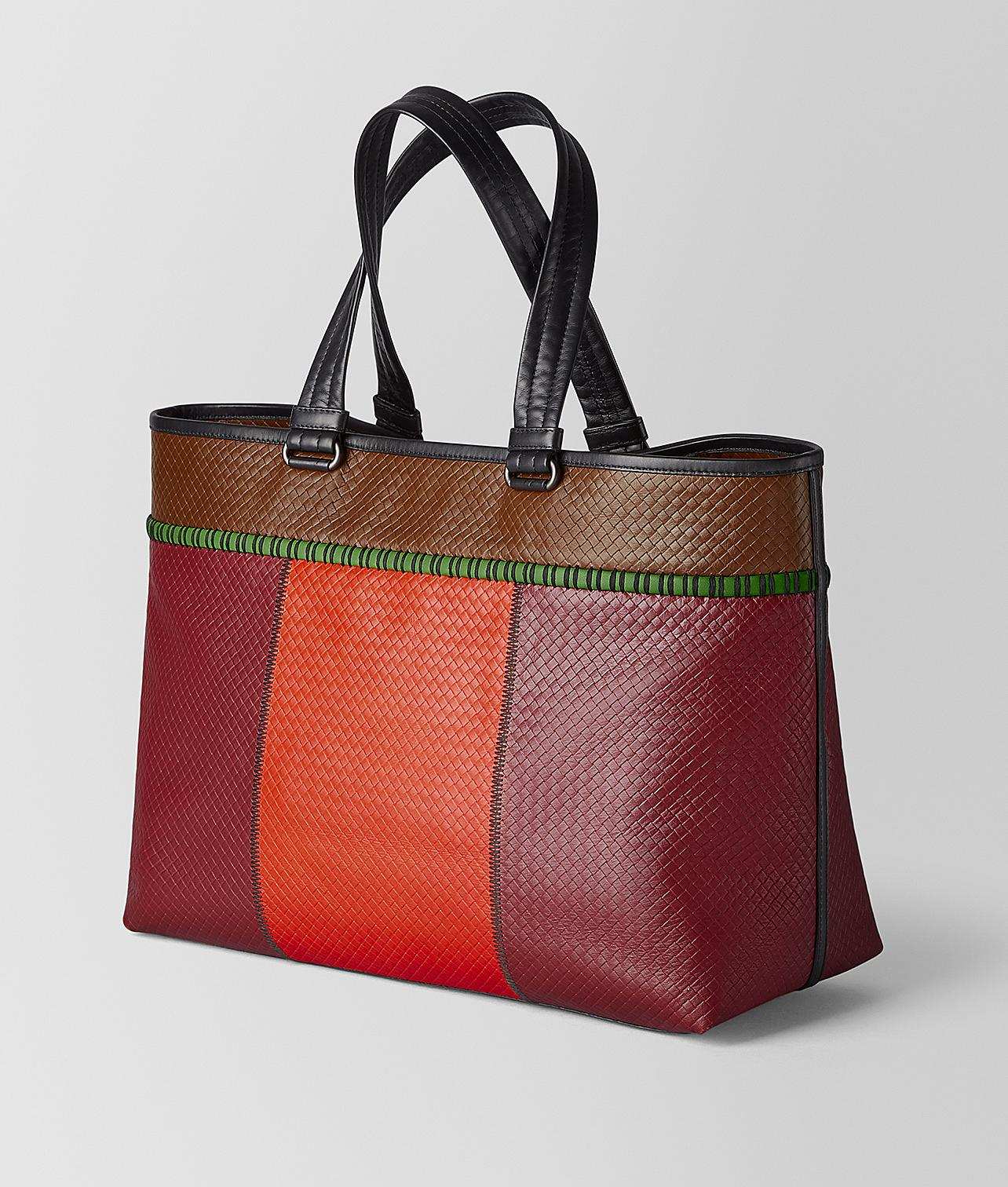 bdc8f6c712 Bottega Veneta Tote In Micro-intrecciato Embossed in Red for Men - Lyst