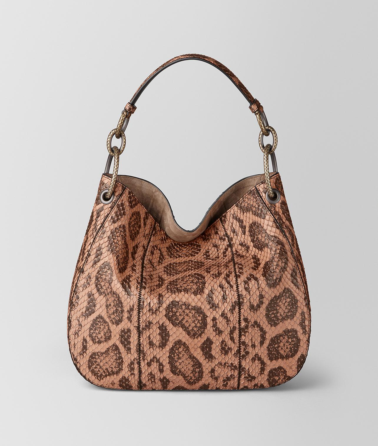 71b6fa3b7051 Bottega Veneta Dahlia Anaconda Loop Bag in Brown - Lyst