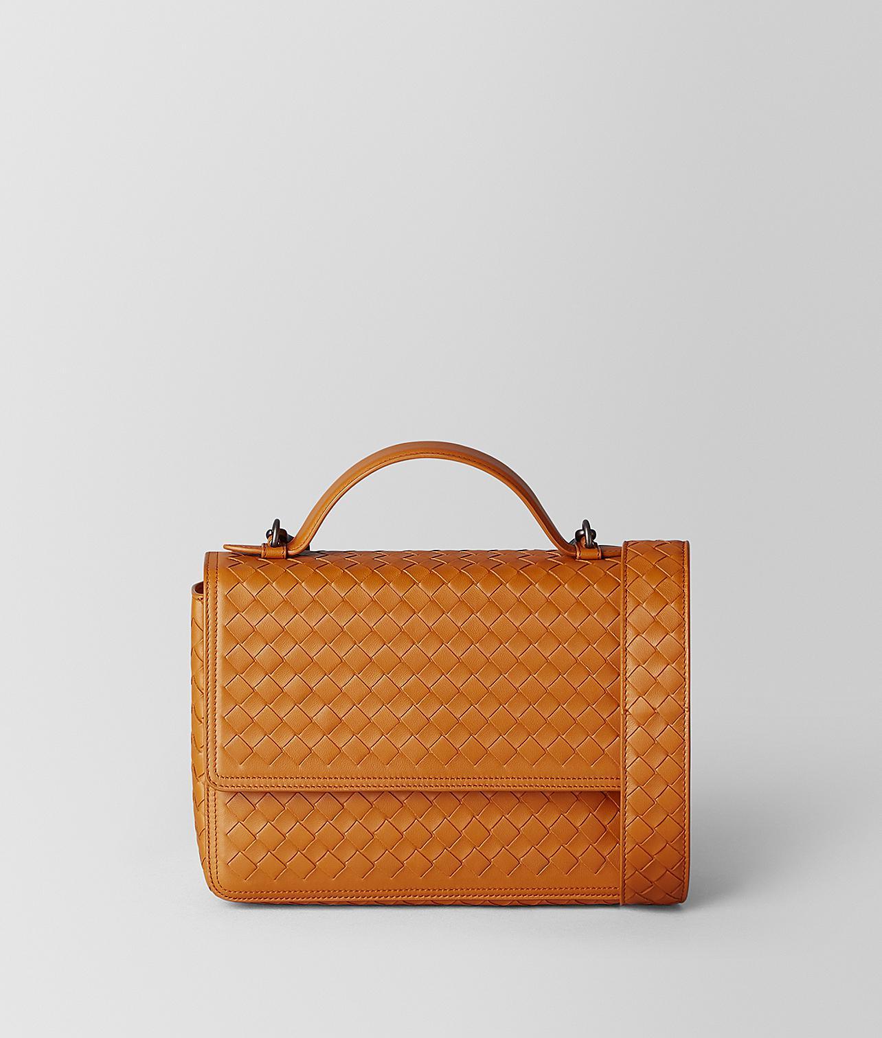 b01ccf40f6 Bottega Veneta Nero Intrecciato Nappa Alumna Bag in Orange - Lyst