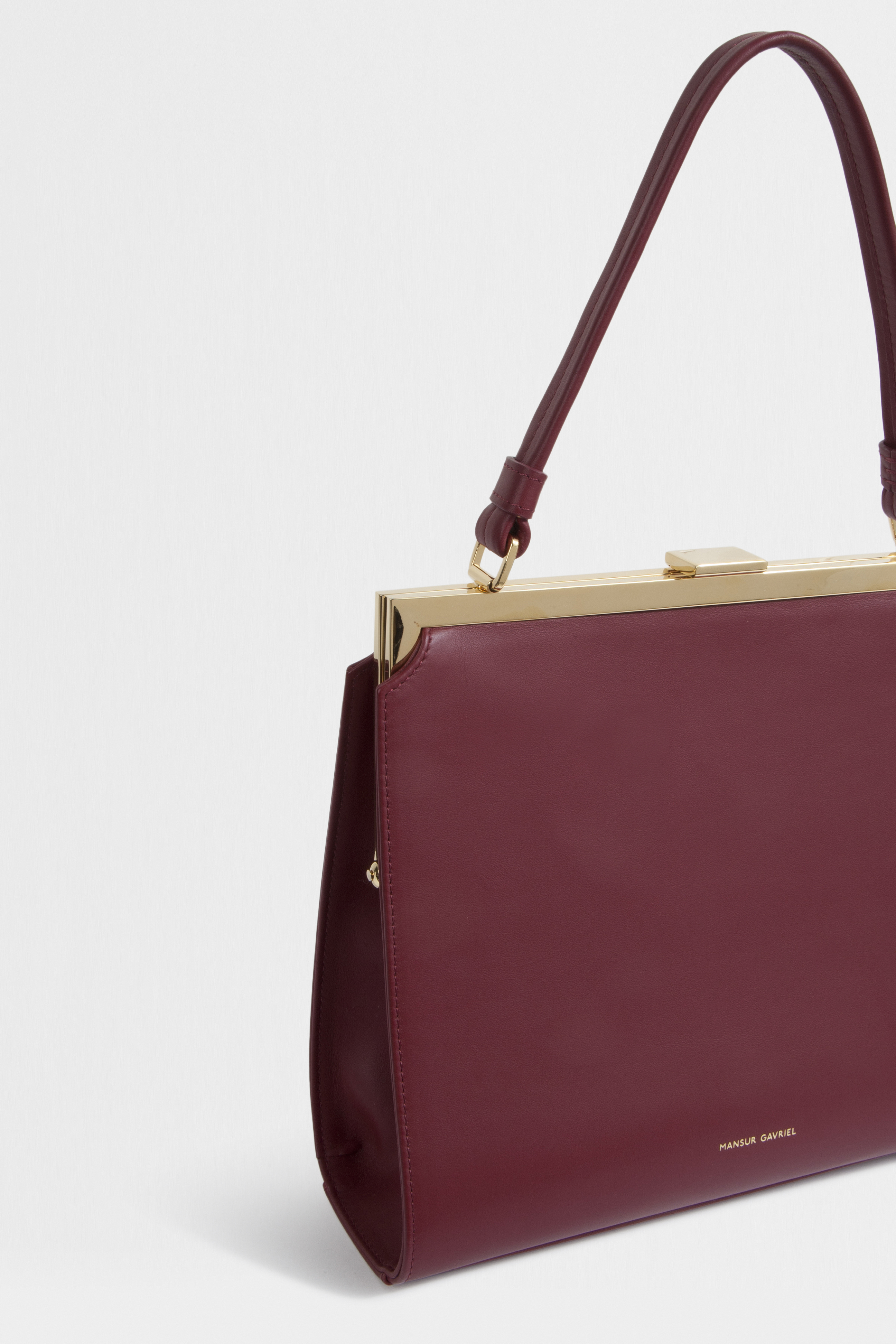 a412889973b0 Lyst - Mansur Gavriel Elegant Leather Top Handle Bag in Red