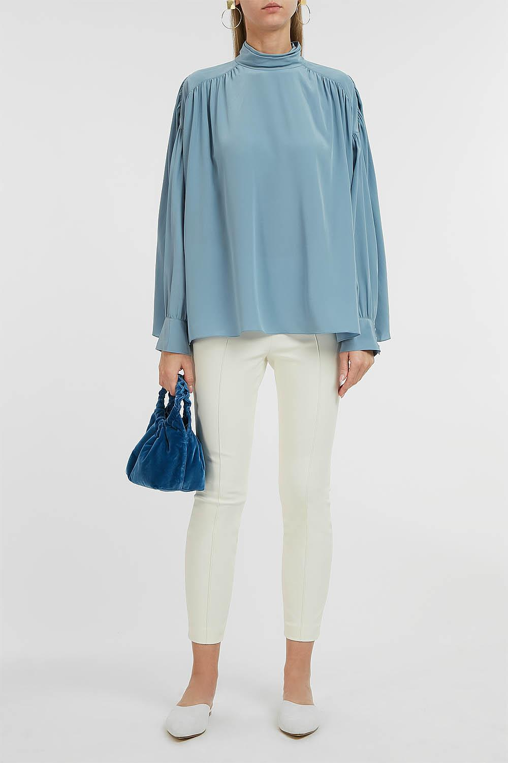 a7fbd9198aa0b Lyst - The Row Losaline Silk Blouse in Blue