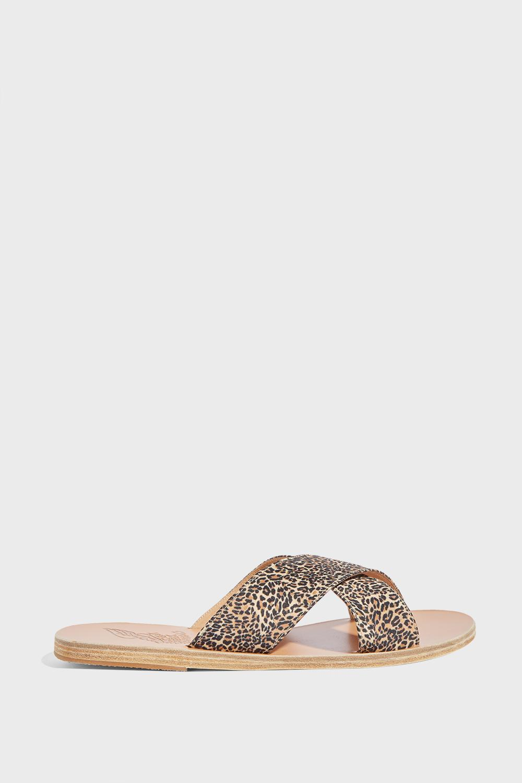 853fc630eabc Lyst - Ancient Greek Sandals Thais Leopard-print Satin Sandals