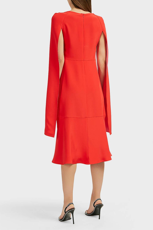 2e8c57f85f CALVIN KLEIN 205W39NYC - Red Cape-sleeve Silk-cady Dress - Lyst. View  fullscreen