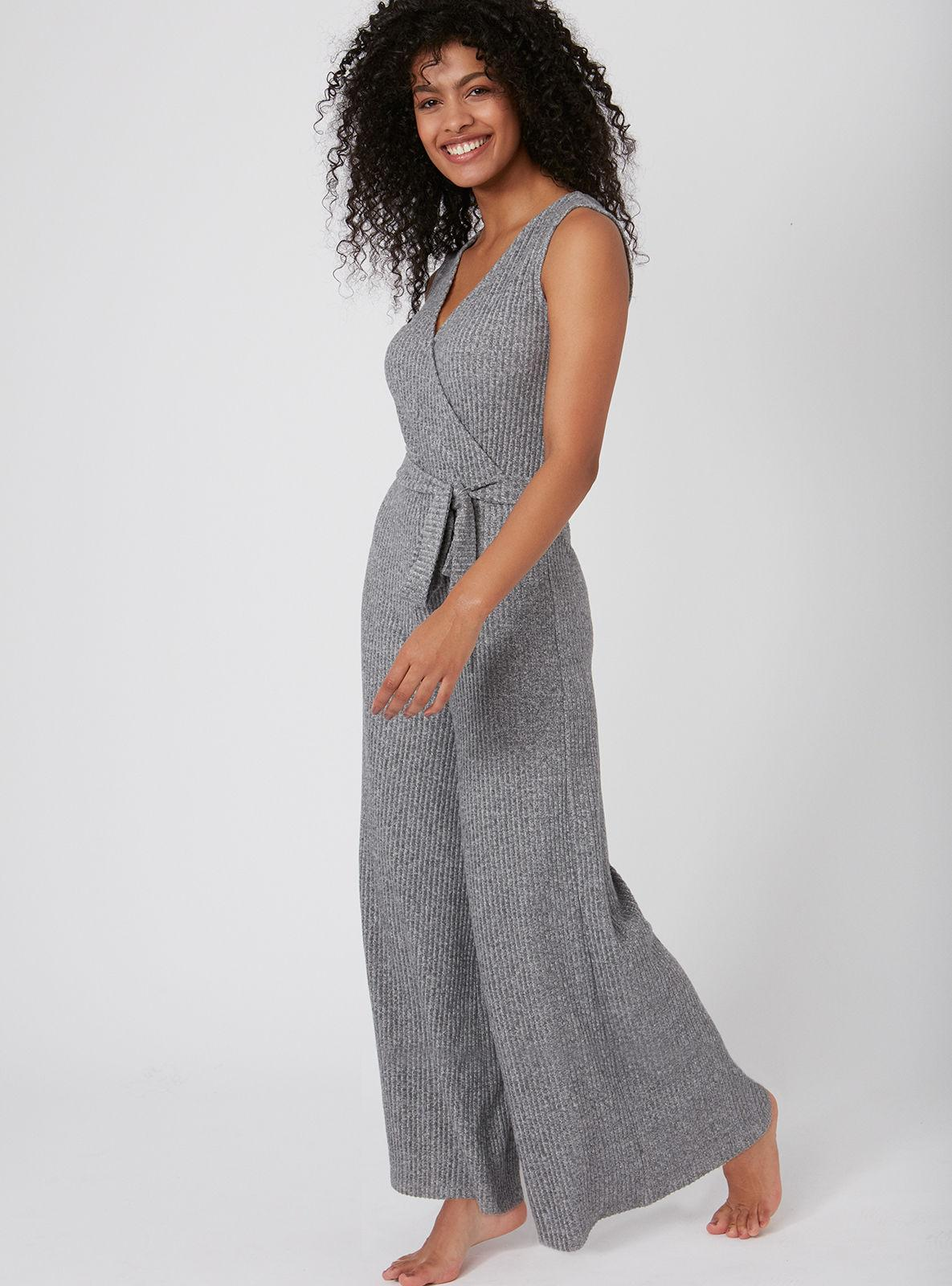 aeccaa88b27 Lyst - Boux Avenue Brushed Rib Wide Leg Jumpsuit in Gray