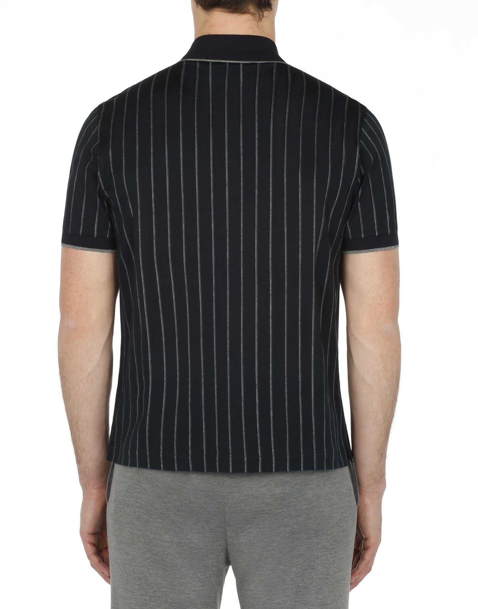 989542200 Lyst - Brioni Navy Blue Striped Polo Shirt in Blue for Men