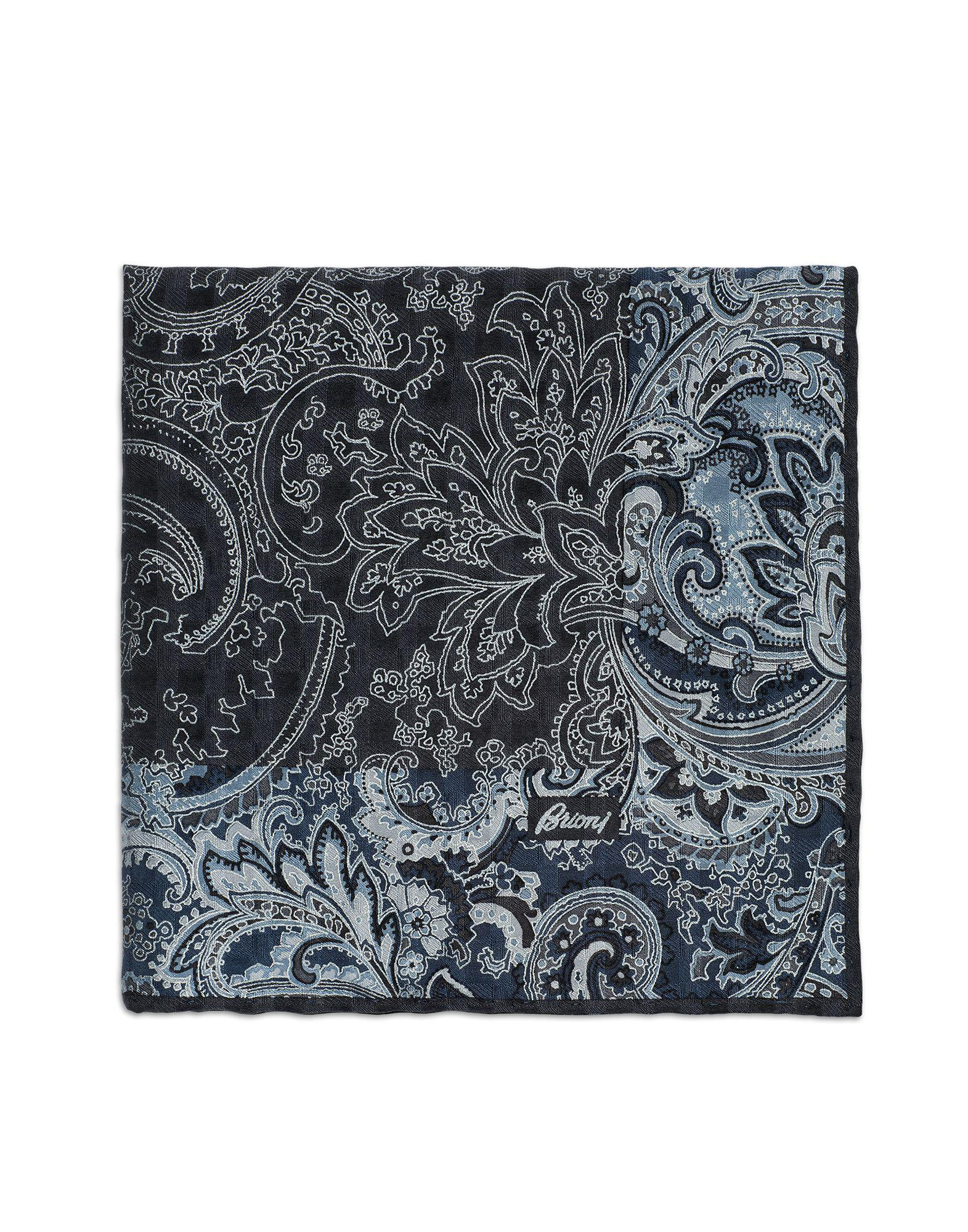 5039a31cf Lyst - Brioni Dark Gray And Sky-blue Paisley Pocket Square in Blue ...