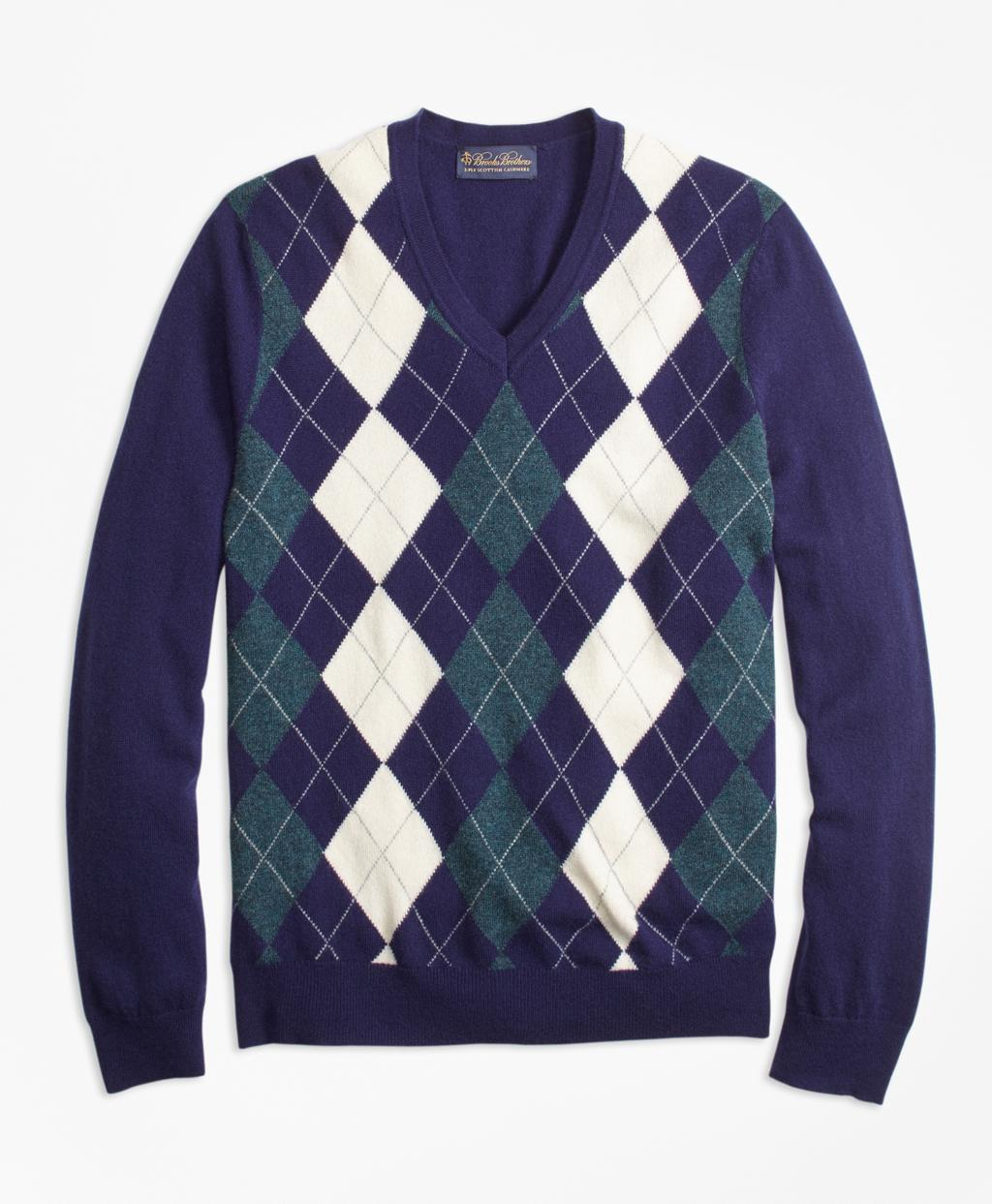 Brooks brothers Cashmere Argyle V-neck Sweater in Blue for Men | Lyst
