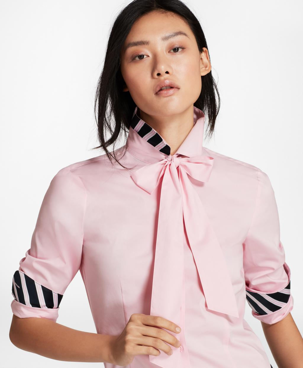 7e3b72809a4e10 Brooks Brothers Bow-neck Stretch Cotton Poplin Shirt in Pink - Lyst
