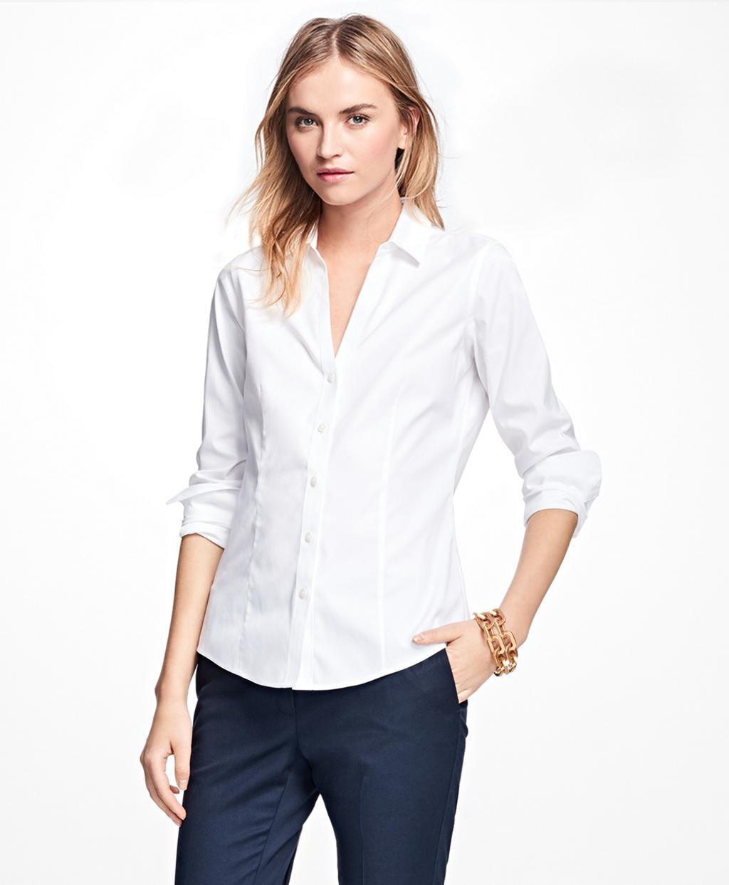 Lyst brooks brothers non iron fitted dress shirt in white for Brooks brothers non iron shirts review