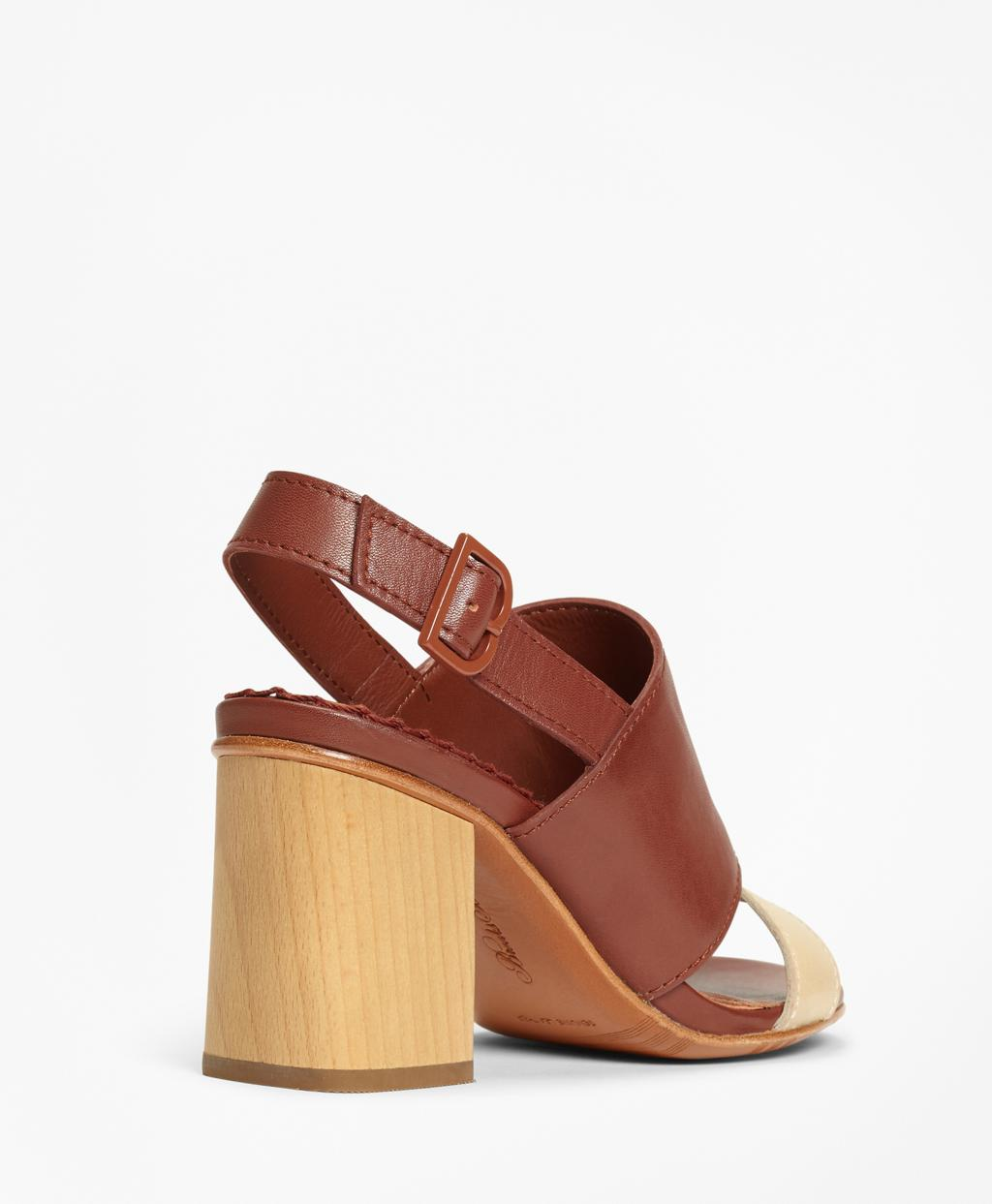 b98d392b7c3 Lyst - Brooks Brothers Two-tone Leather Block-heel Sandals in Brown