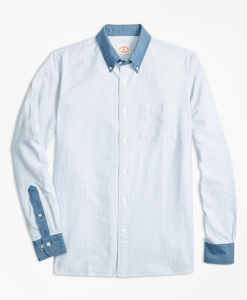 Lyst brooks brothers chambray trim striped cotton oxford for Brooks brothers sports shirts
