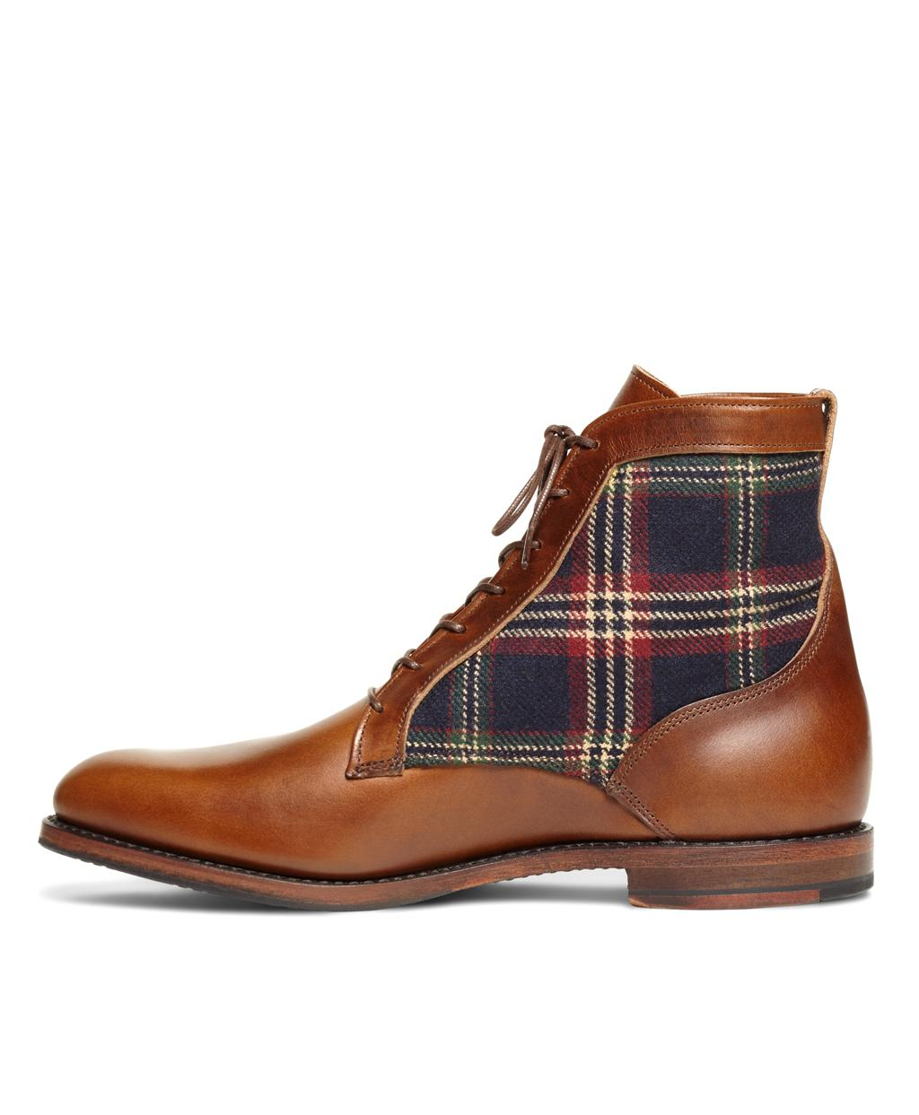Lyst - Brooks Brothers Leather And Signature Tartan Boots in Brown for Men  - Save 20% 849215468cd