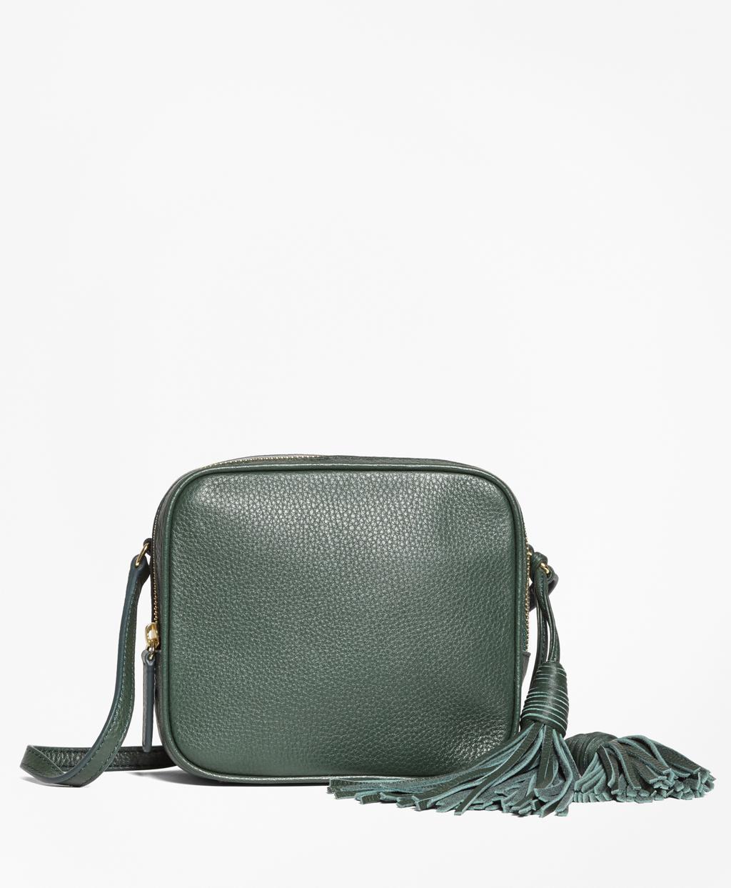 b2ca515b3797 Lyst - Brooks Brothers Tasseled Leather Cross-body Bag in Green