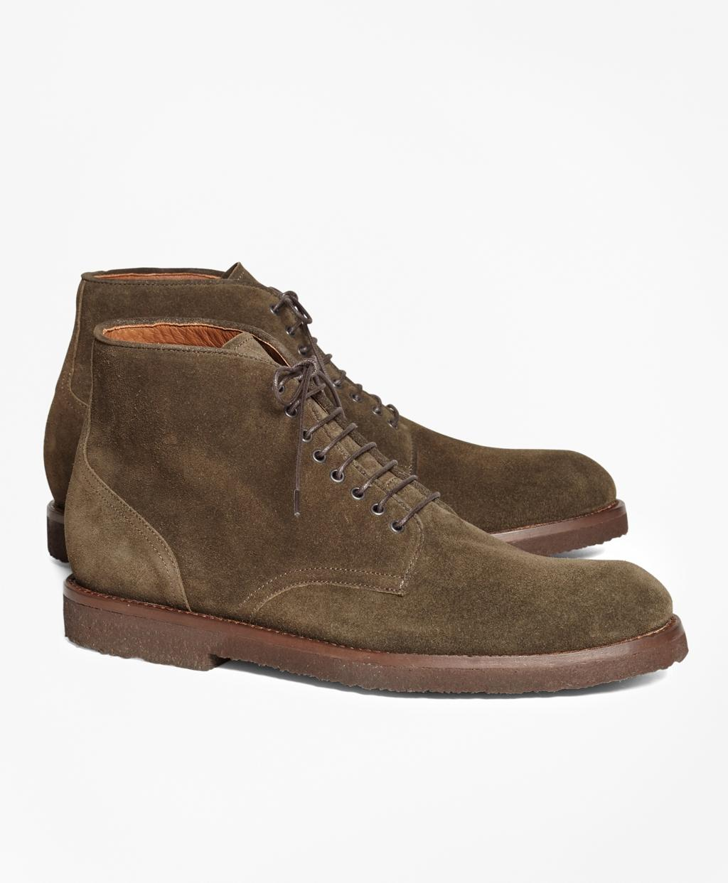 brothers suede boots in green for lyst