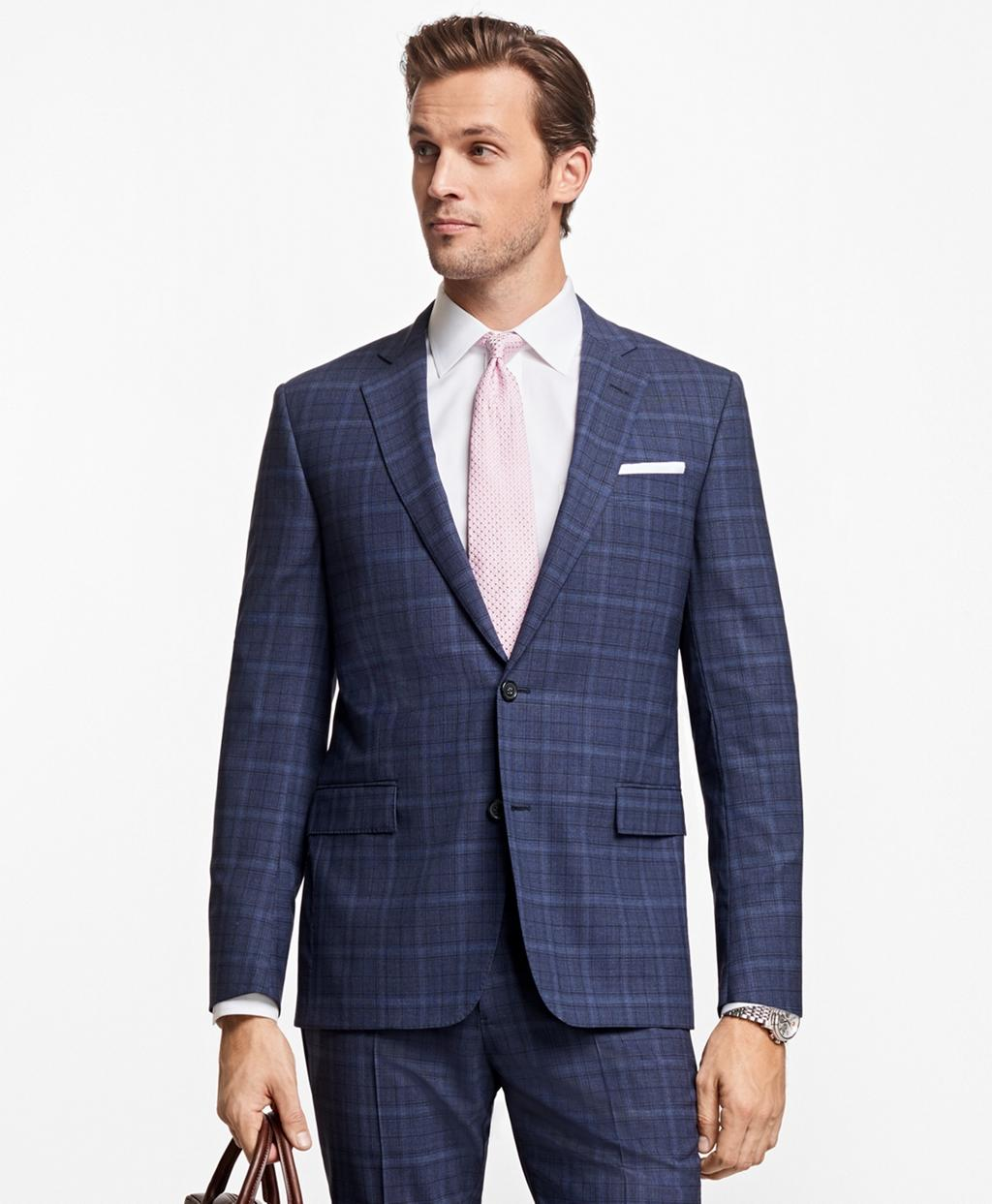 Lyst brooks brothers regent fit brookscool plaid suit for Brooks brothers tall shirts
