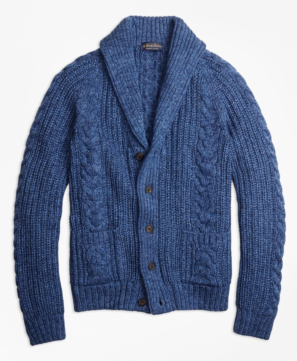 With a cable knit inspired by classic fisherman sweaters, this cardigan is made from cotton, which will keep you warm without overheating. It's perfect for transitional weather, .
