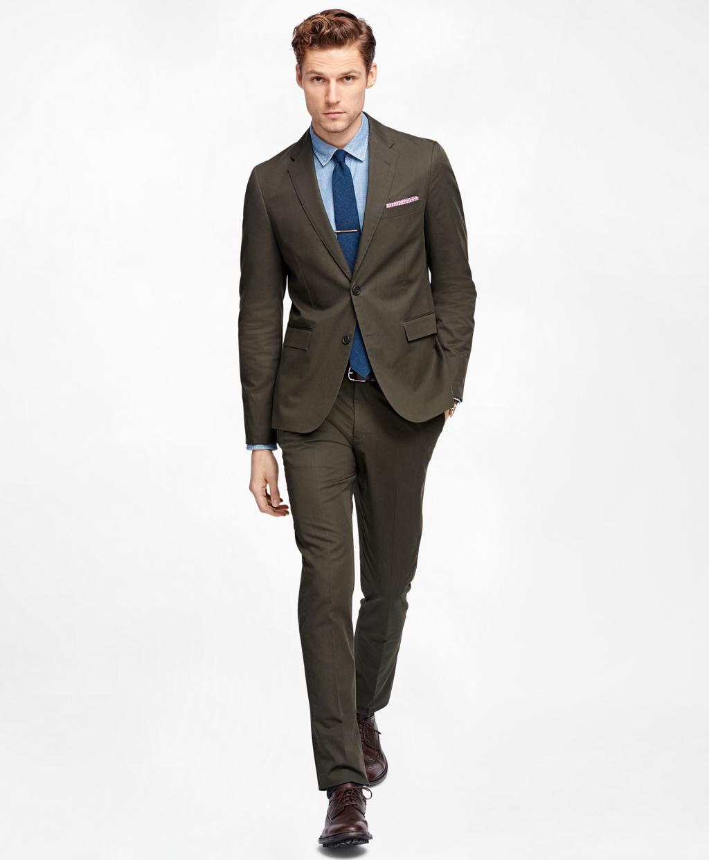 Lyst - Brooks brothers Olive Twill Suit Trousers in Green ...