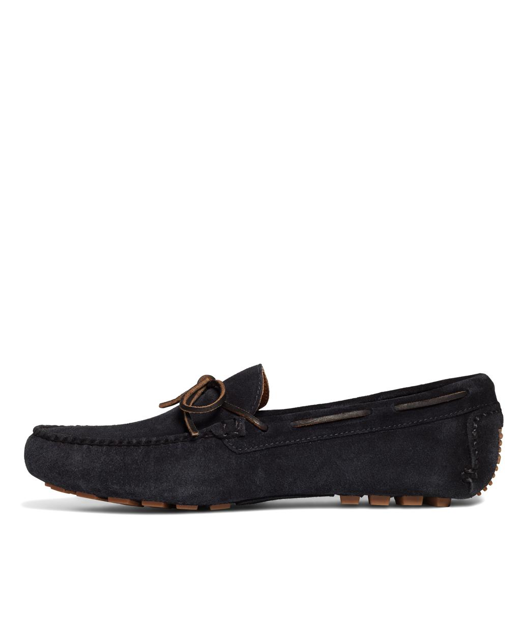 49c92782986 Lyst - Brooks Brothers Suede Tie Driving Moccasins in Blue for Men