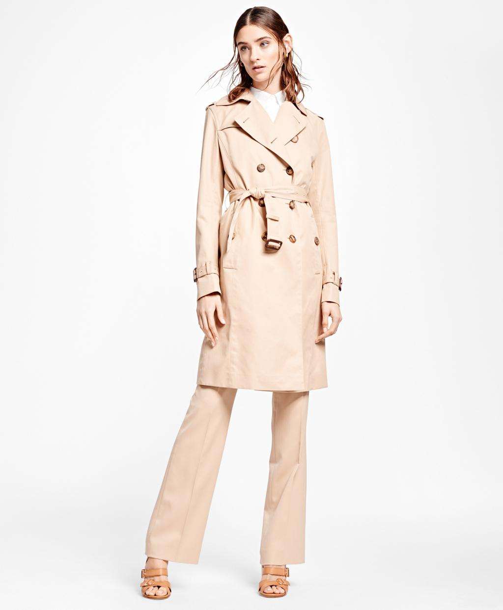 e853cba149635 Lyst - Brooks Brothers Double-breasted Trench Coat in Natural