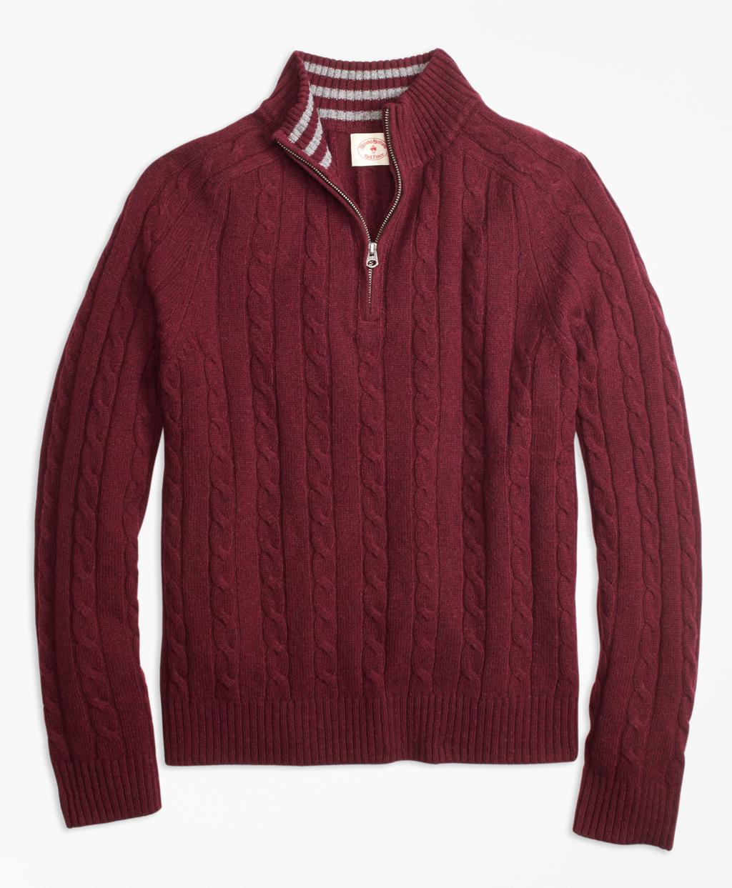 Brooks brothers Cable-knit Wool-blend Half-zip Sweater in Red for ...