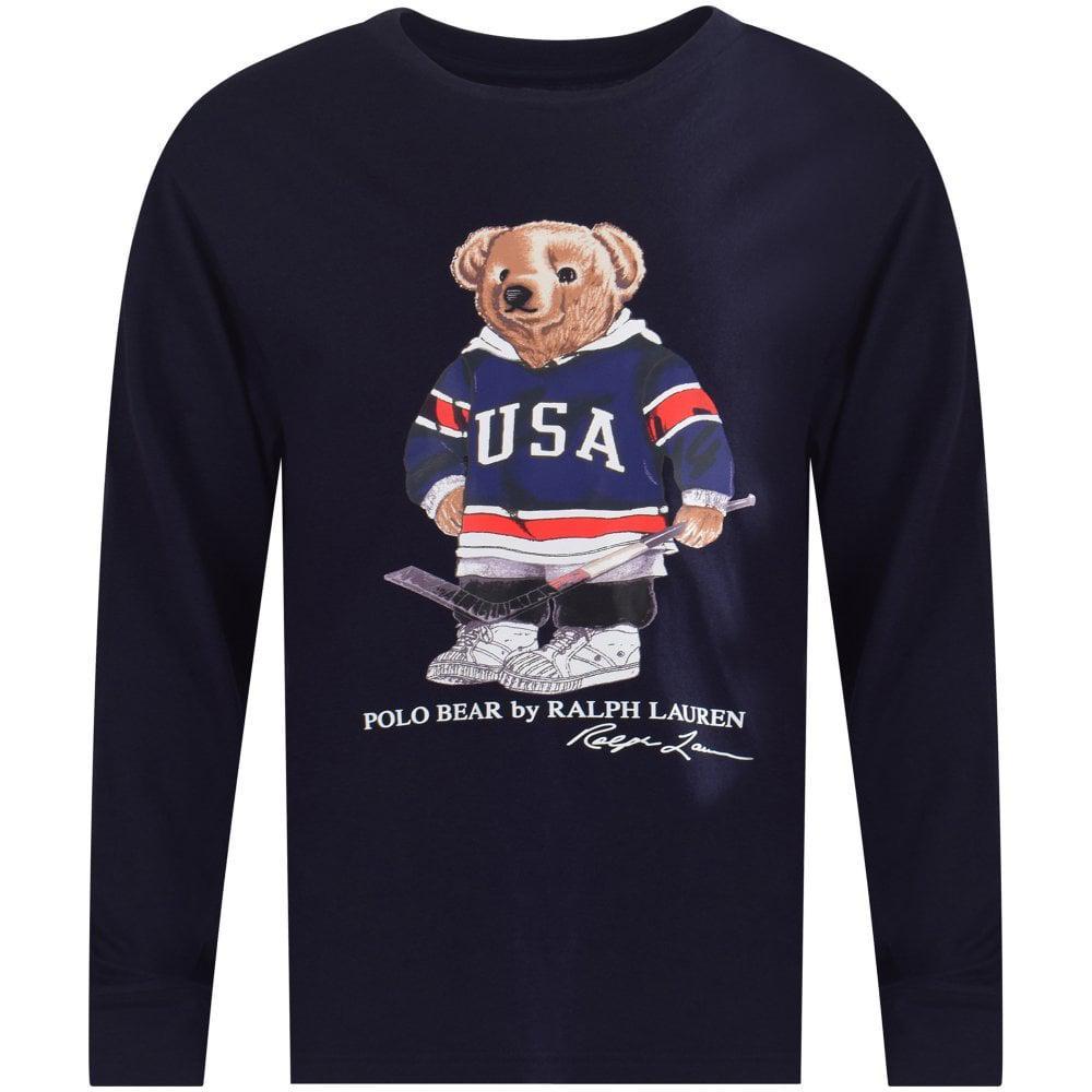 b5d0865b Polo Ralph Lauren Hockey Bear Long Sleeved T-shirt In Navy in Blue ...