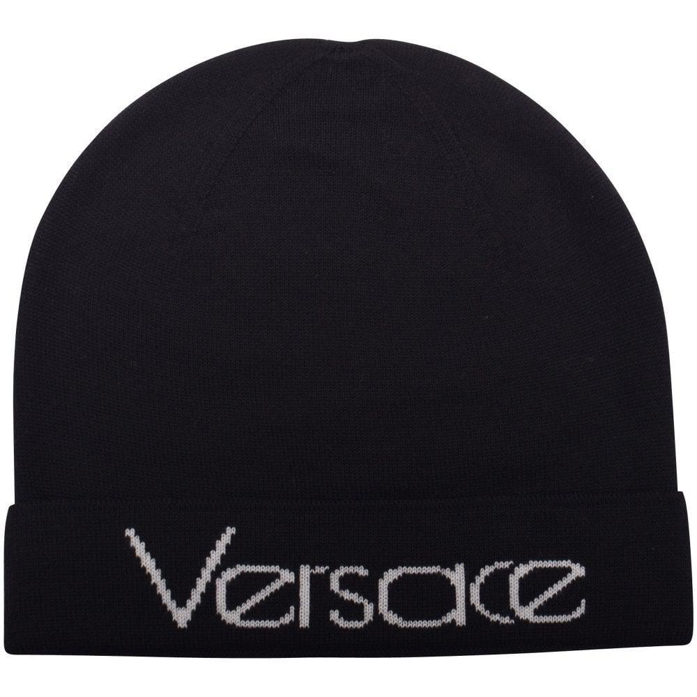 640c77e2 Versace Vintage Logo Beanie (black/white) Beanies in Black for Men ...