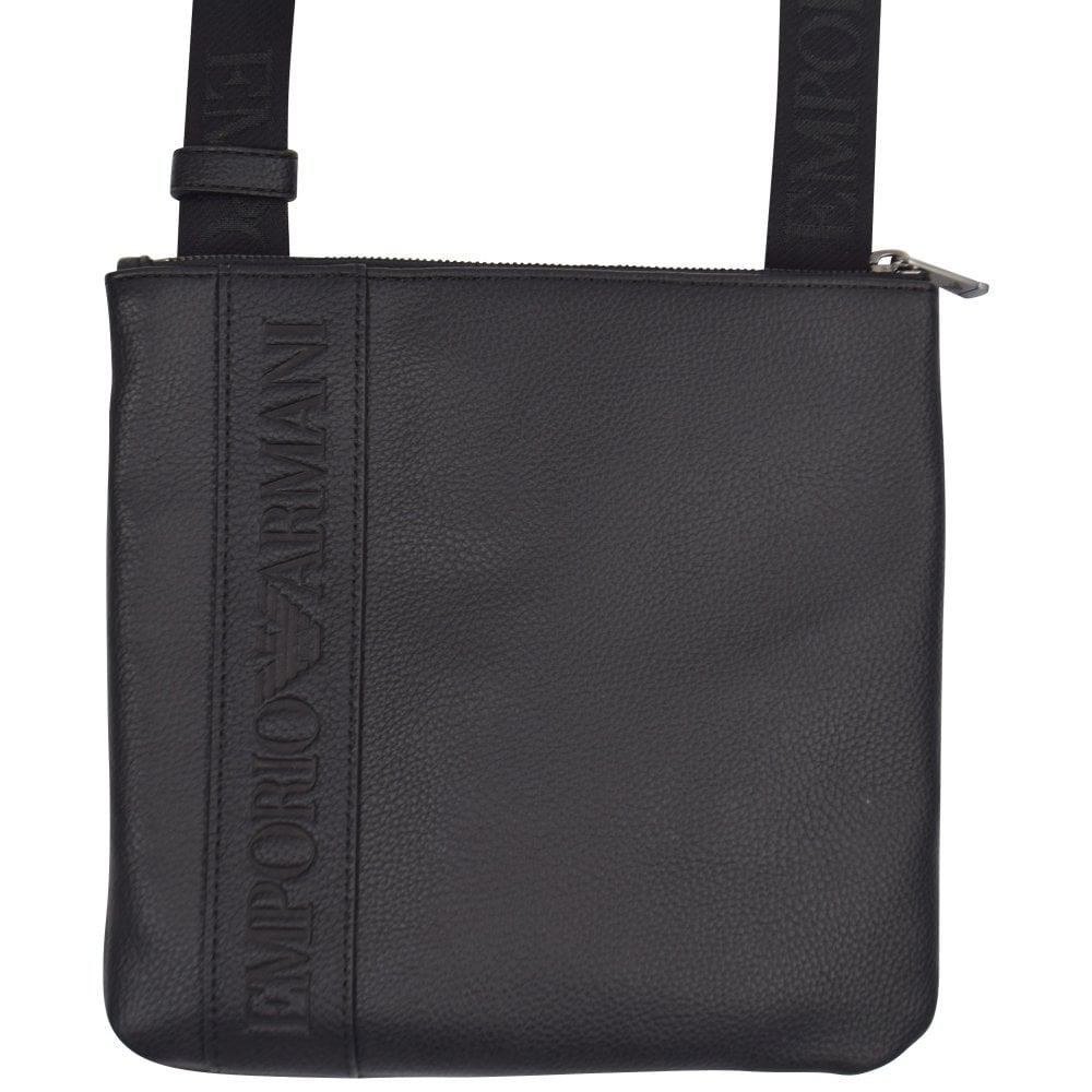 Emporio Armani Black Leather Logo Shoulder Bag in Black for Men - Lyst 06567bd12e6a7