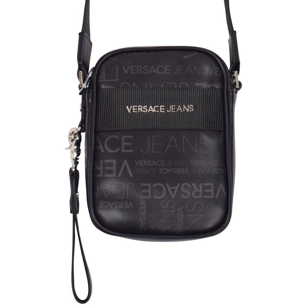 Versace Jeans Small Logo Print Shoulder Bag in Black for Men - Lyst 52d405cb6b860