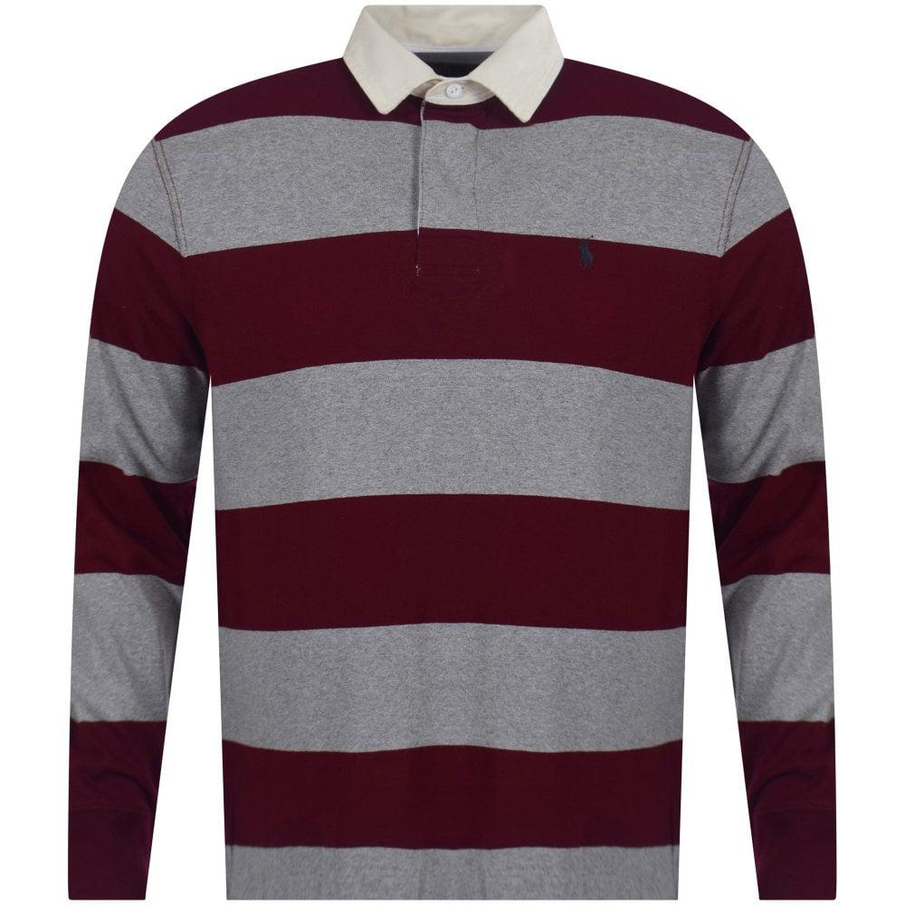 595d345da Polo Ralph Lauren. Men s Red Heather Grey   Burgundy Stripe Iconic Rugby  Polo Shirt