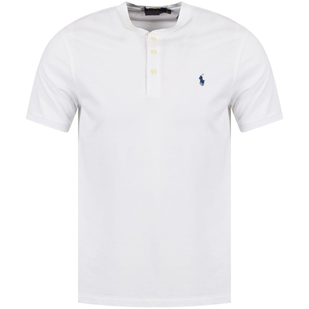 98315ef5e3fc4 Lyst - Polo Ralph Lauren White Grandad Collar Polo Shirt in White ...