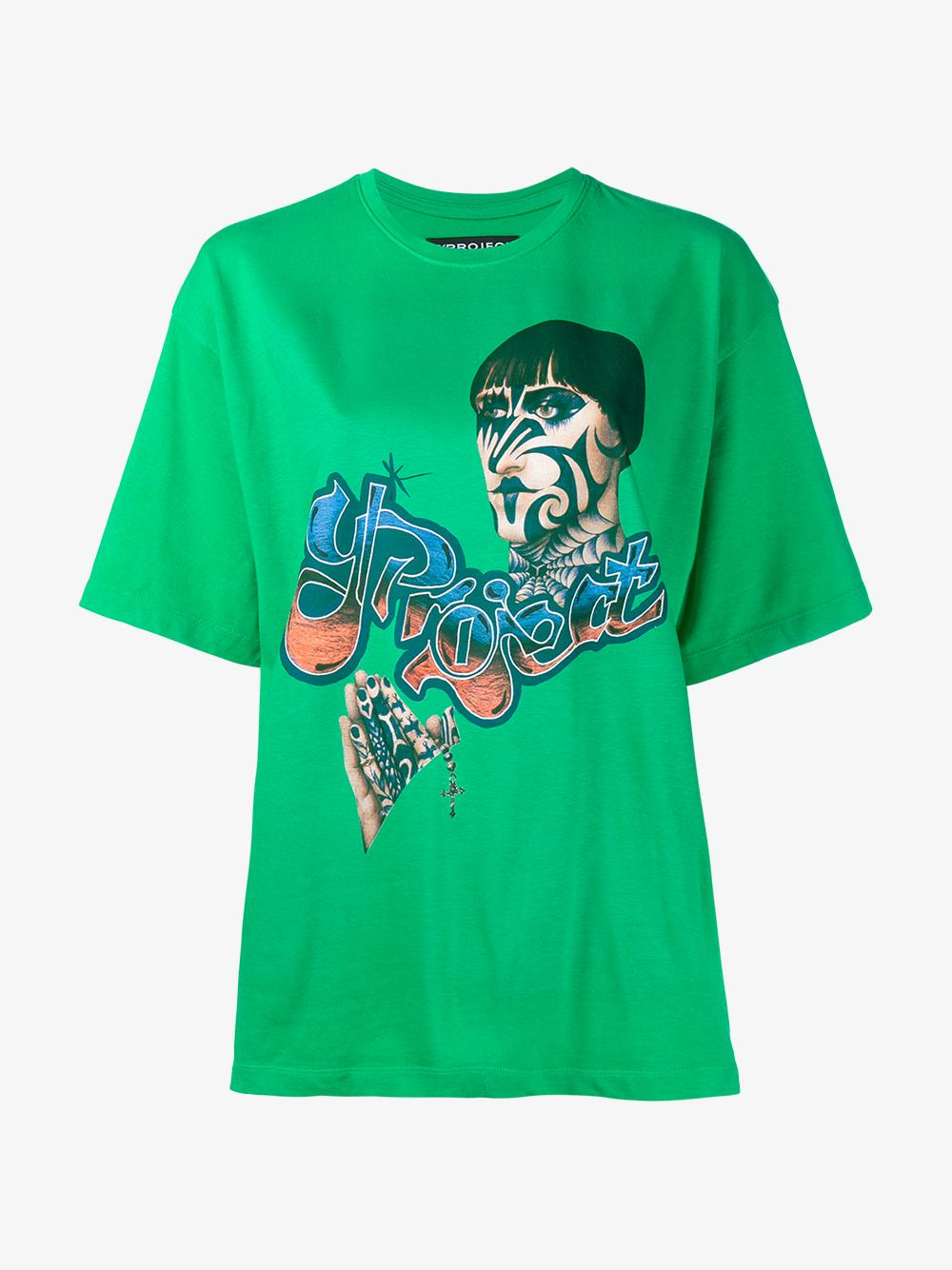 Lyst y project printed t shirt in green for Sustainable t shirt printing